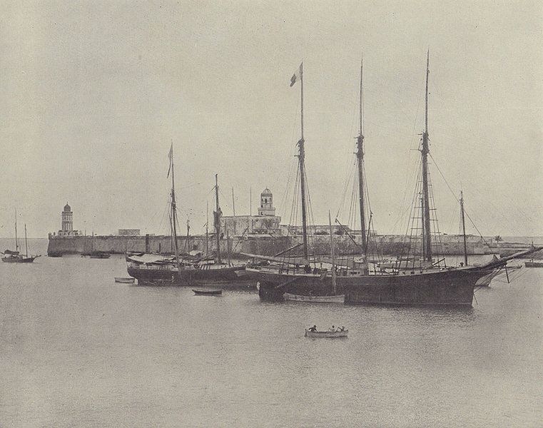 The fort of San Juan de Ulua and the City of Veracruz. Mexico. STODDARD 1895