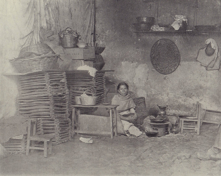 Mexican kitchen in Orizaba. Mexico. STODDARD 1895 old antique print picture