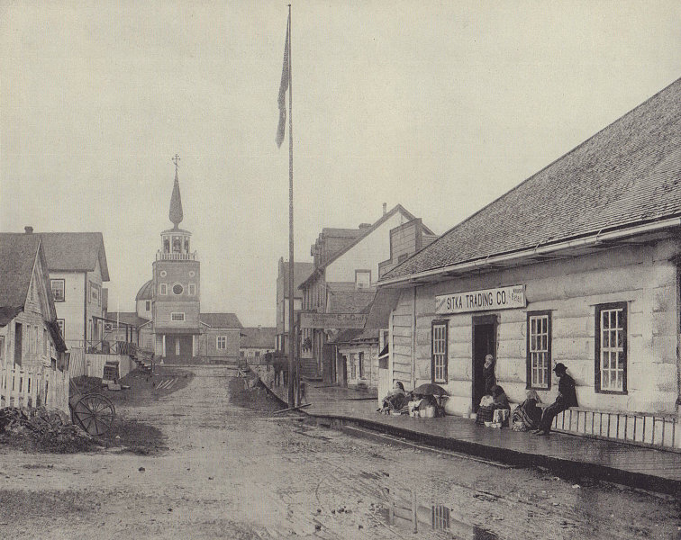 St. Michael's Cathedral, Russian Orthodox Church, Sitka, Alaska. STODDARD 1895