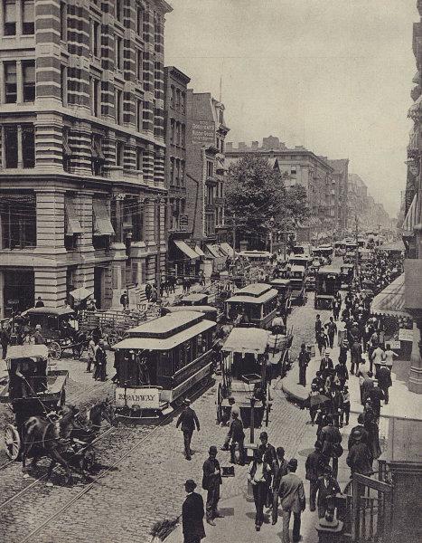 Broadway, New York. STODDARD 1895 old antique vintage print picture