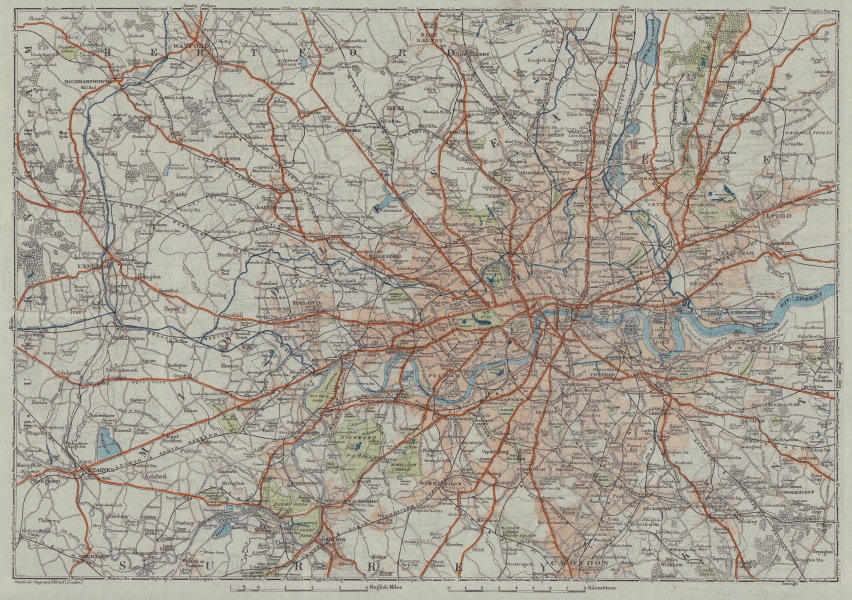 Environs of London. Greater London roads railways 1920 old antique map chart
