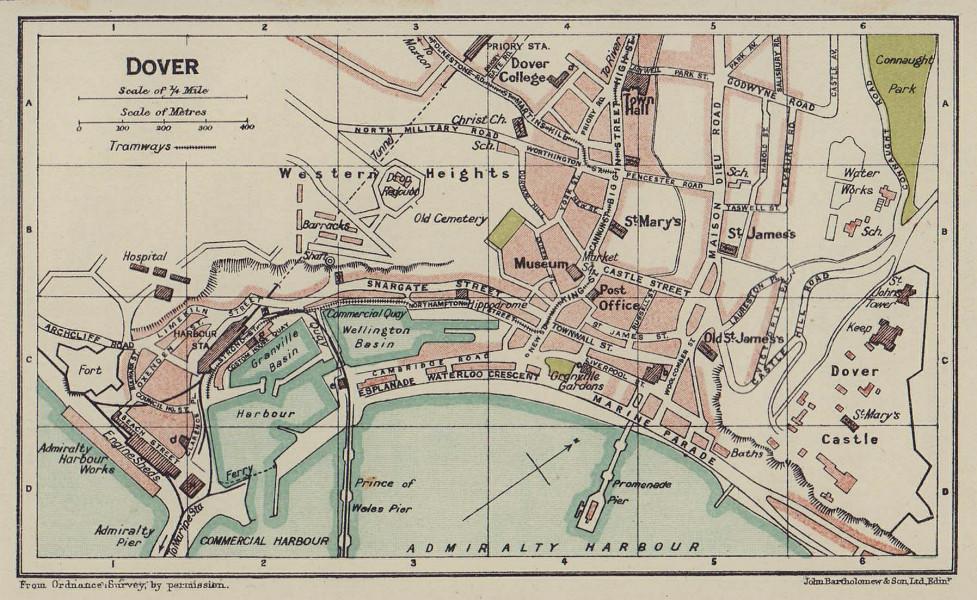 DOVER town city plan. Kent 1920 old antique vintage map chart