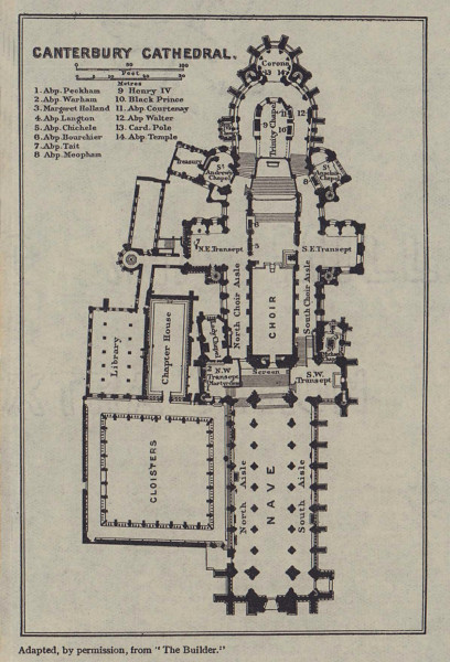 Canterbury Cathedral ground floor plan. Kent 1920 old antique map chart