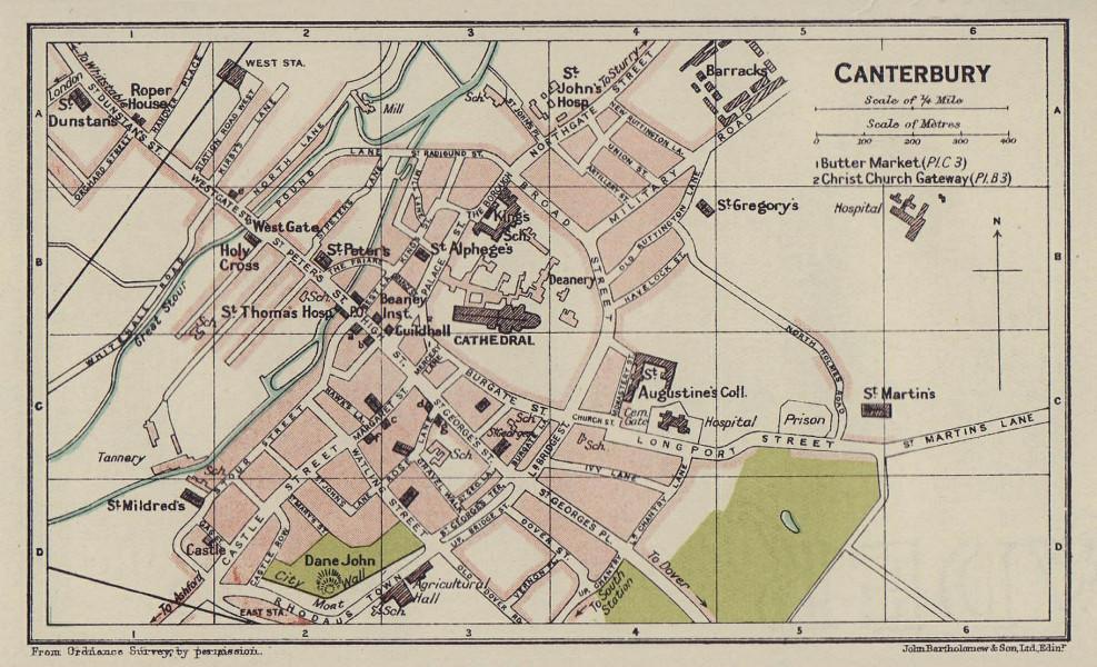 CANTERBURY town city plan. Kent 1920 old antique vintage map chart