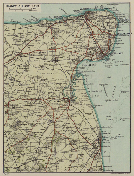 Thanet & East Kent. Margate Deal Ramsgate Broastairs Sandwich 1920 old map