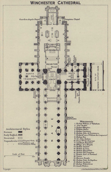 Winchester Cathedral ground floor plan. Hampshire 1920 old antique map chart
