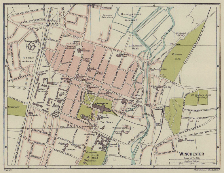 WINCHESTER town city plan. Hampshire 1920 old antique vintage map chart