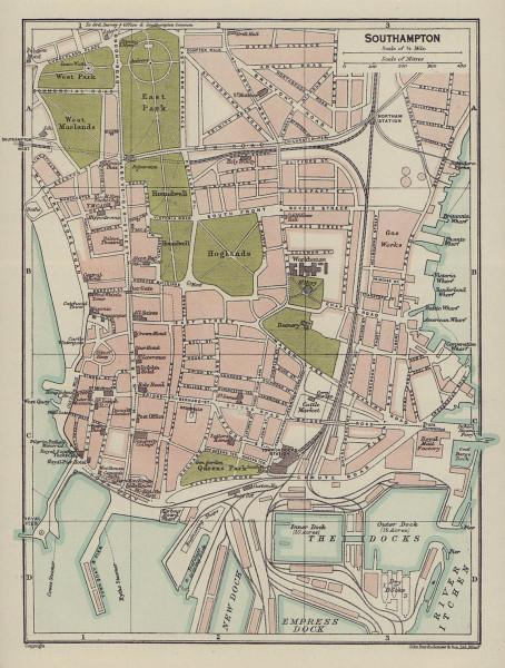 SOUTHAMPTON town city plan. Hampshire 1920 old antique vintage map chart