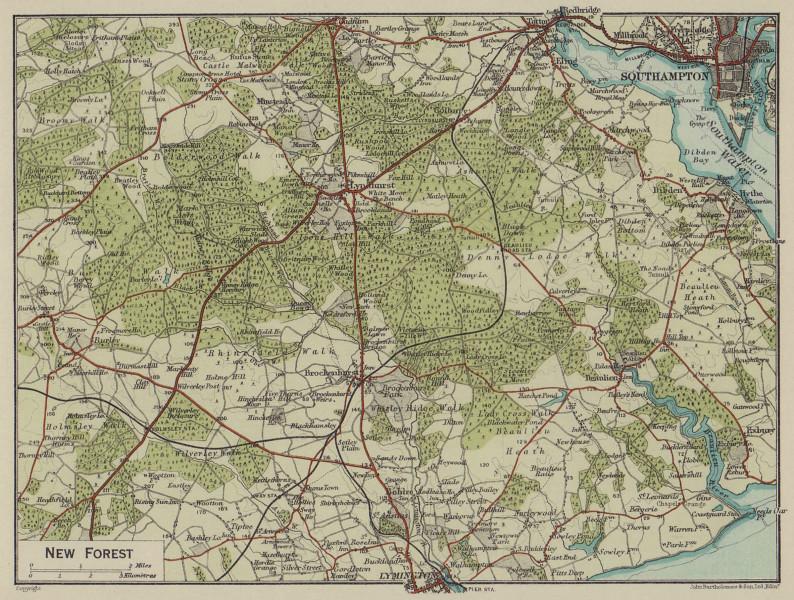 New Forest. Lyndhurst Southampton Lymington Beaulieu. Hampshire 1920 old map