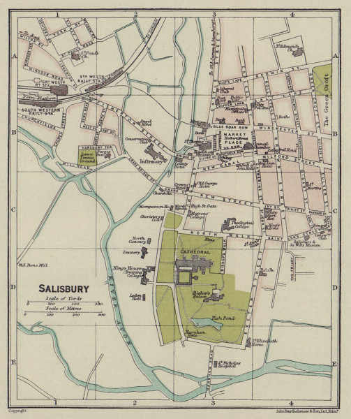 SALISBURY town city plan. Wiltshire 1920 old antique vintage map chart