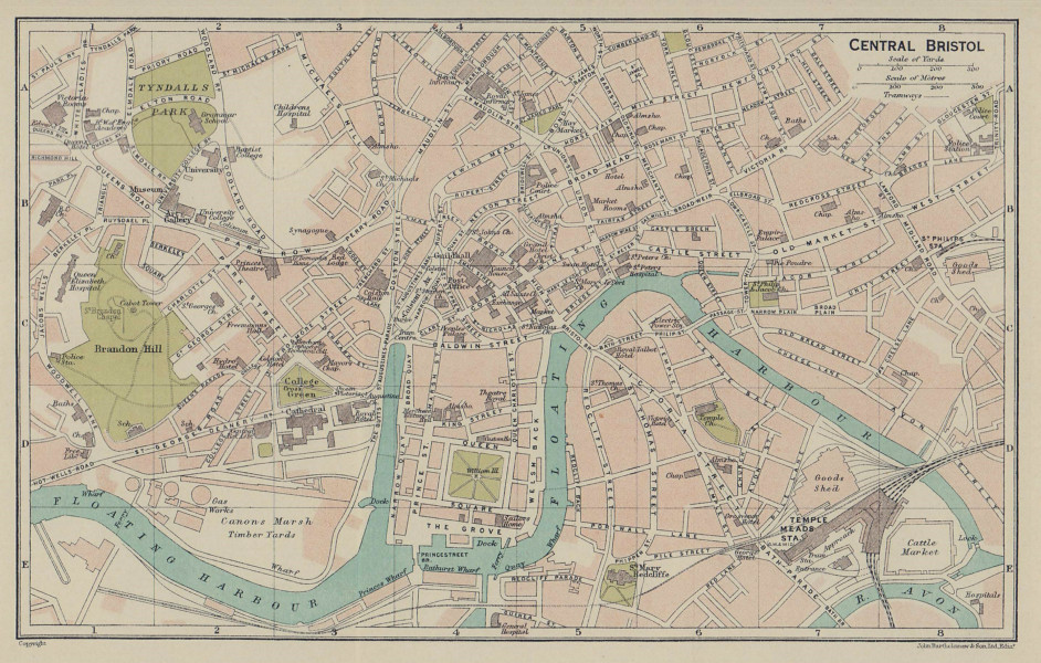 CENTRAL BRISTOL town city plan. Gloucestershire 1920 old antique map chart