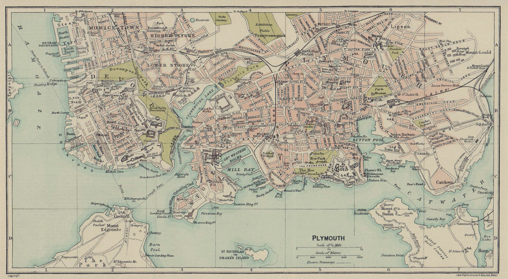 PLYMOUTH town city plan. Devon 1920 old antique vintage map chart