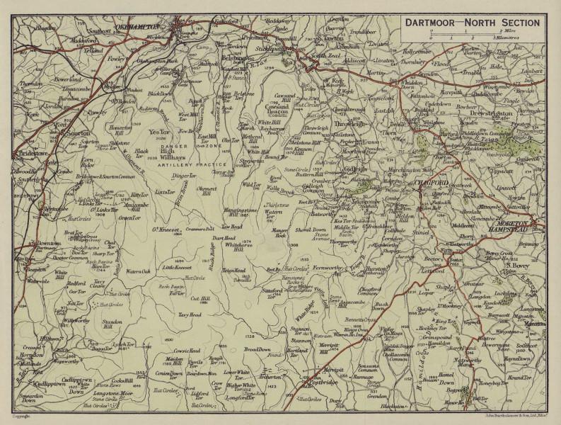 Dartmoor - North Section. Okehampton Chagford Moretonhampstead. Devon 1920 map