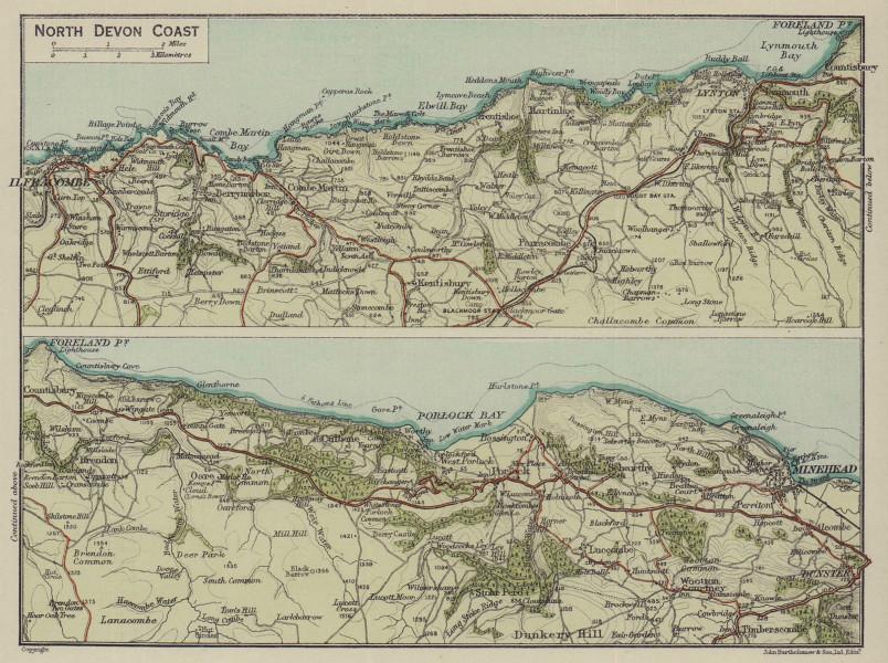 North Devon Coast. Ilfracombe Minehead Lynton 1920 old antique map plan chart