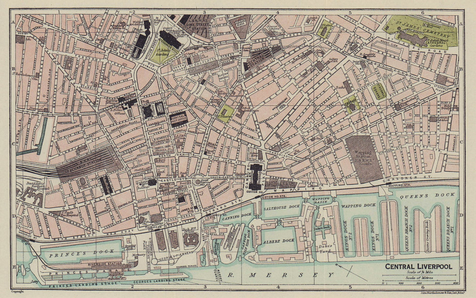 CENTRAL LIVERPOOL town city plan 1920 old antique vintage map chart