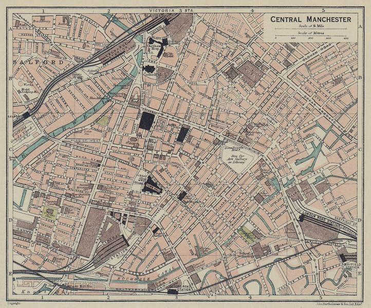 CENTRAL MANCHESTER town city plan. Lancashire 1920 old antique map chart