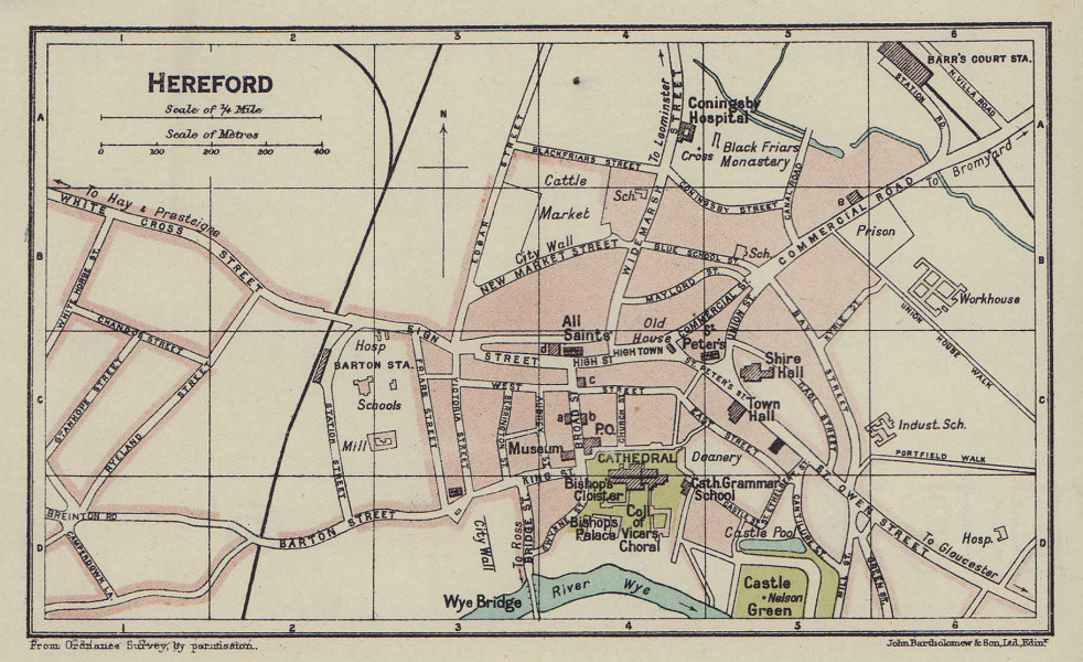 HEREFORD town city plan. Herefordshire 1920 old antique vintage map chart