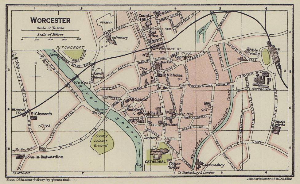WORCESTER town city plan. Worcestershire 1920 old antique map chart
