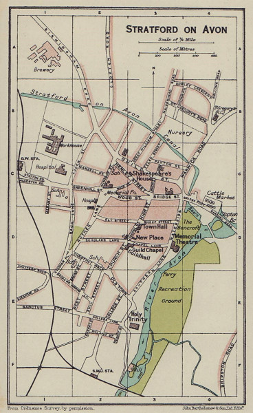 Stratford on Avon. Warwickshire 1920 old antique vintage map plan chart