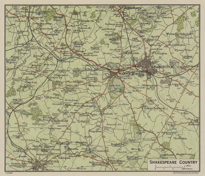 Shakespeare Country. Stratford-on-Avon Warwick Leamington Kenilworth 1920 map