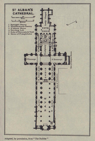St Alban's Cathedral ground floor plan. Hertfordshire 1920 old antique map