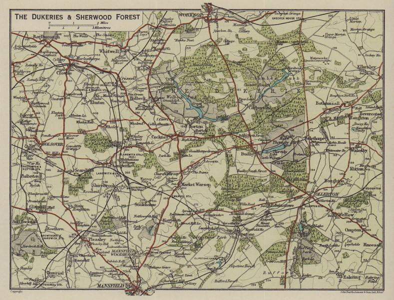 The Dukeries & Sherwood Forest. Mansfield Worksop. Nottinghamshire 1920 map
