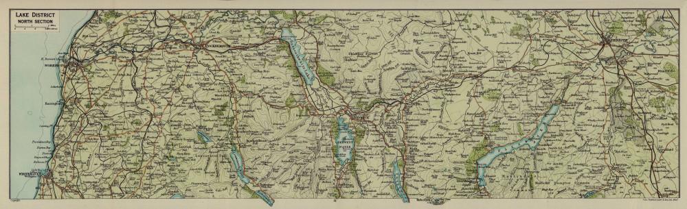 Lake District North. Keswick Penrith Cockermouth Cumbria 1920 old antique map