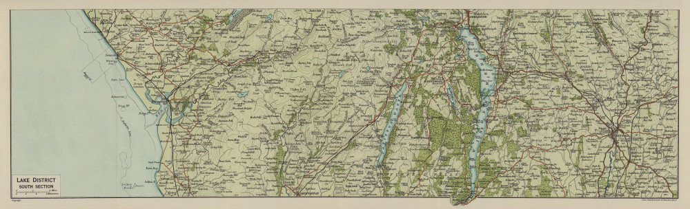 Lake District South. Kendal Windermere Coniston Cumbria 1920 old antique map