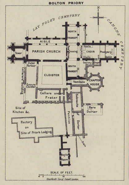 Bolton Priory ground floor plan. Yorkshire 1920 old antique map chart