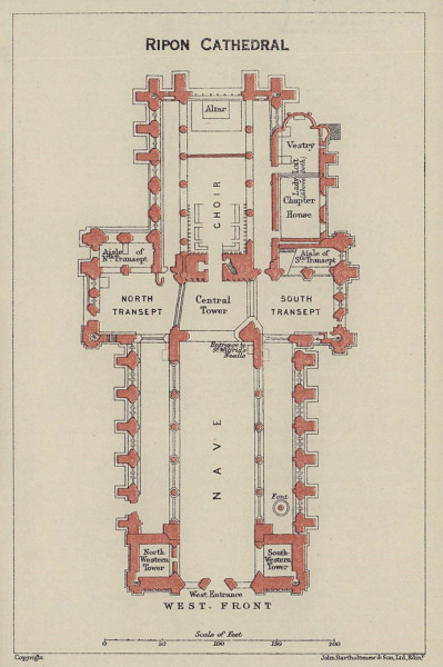 Ripon Cathedral ground floor plan. Yorkshire 1920 old antique map chart
