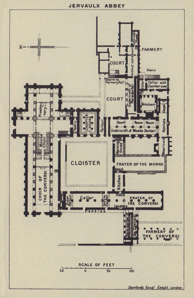 Jervaulx Abbey ground floor plan. Yorkshire 1920 old antique map chart