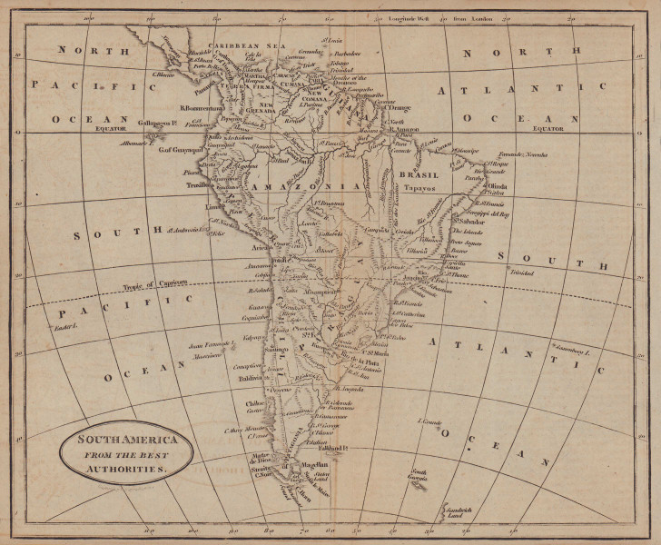 South America from the best authorities by Richard Brookes 1812 old map