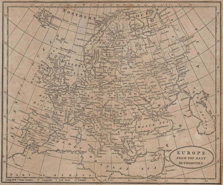 Europe from the best authorities by Richard Brookes 1812 old antique map chart