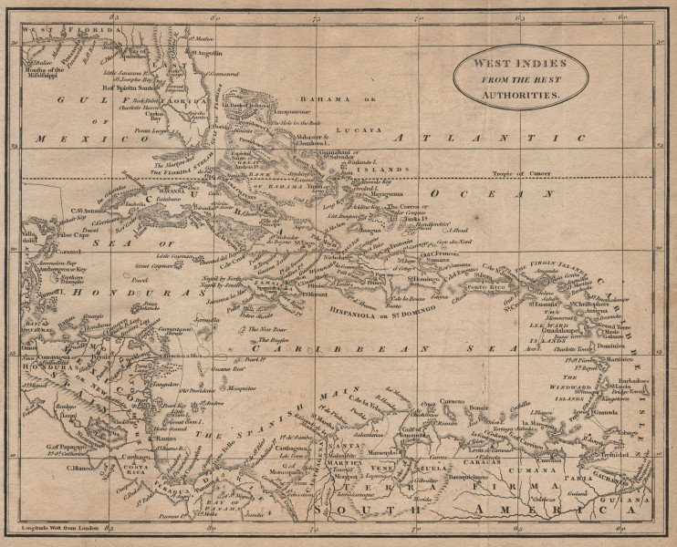 West Indies from the best authorities by Richard Brookes 1812 old antique map