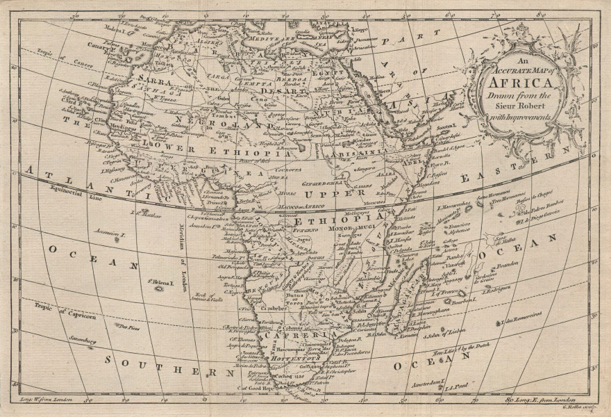 An accurate map of Africa drawn from the Sieur Robert… ROLLOS 1766 old