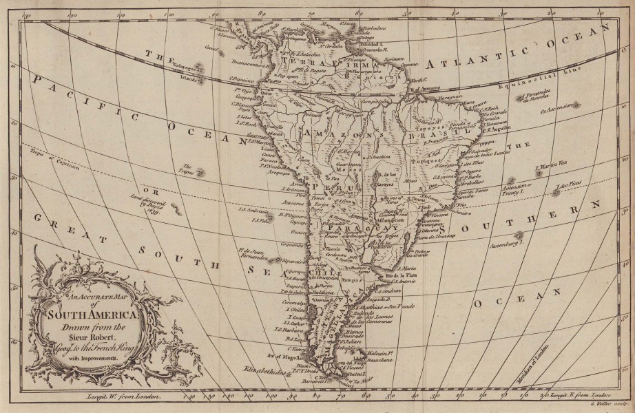 An accurate map of South America drawn from the Sieur Robert… ROLLOS 1766