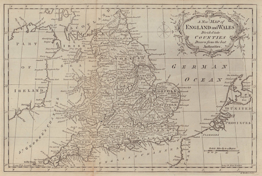 A new map of England and Wales divided into counties… ROLLOS 1766 old