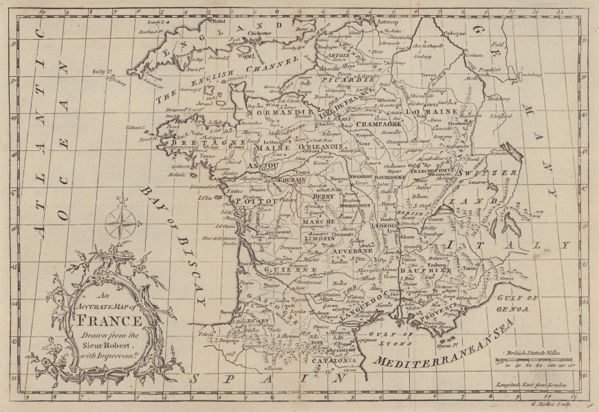 An accurate map of France drawn from the Sieur Robert… ROLLOS 1766 old