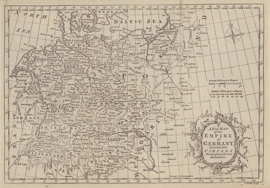 A new map of the Empire of Germany divided into Circles… ROLLOS 1766 old