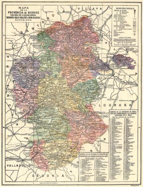 Associate Product SPAIN. Mapa de la Provincia de Burgos 1913 old antique vintage plan chart