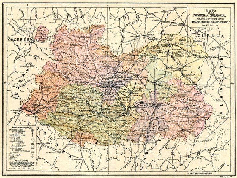 SPAIN. Mapa de la Provincia de Ciudad Real 1913 old antique plan chart