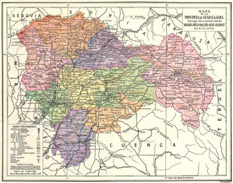 Associate Product SPAIN. Mapa de la Provincia de Guadalajara 1913 old antique plan chart