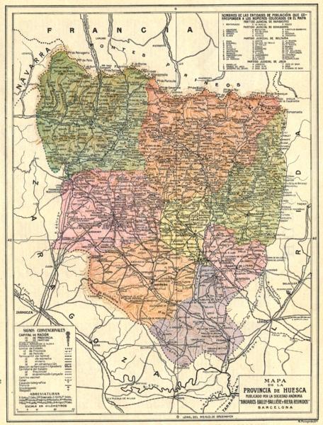 Associate Product SPAIN. Mapa de la Provincia de Huesca 1913 old antique vintage plan chart