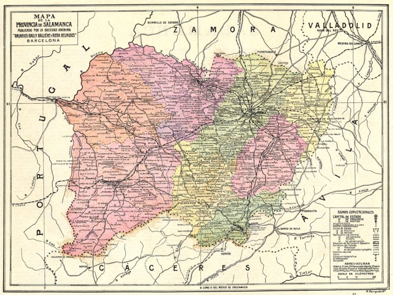 Spain Mapa De La Provincia De Salamanca 1913 Old Antique Plan