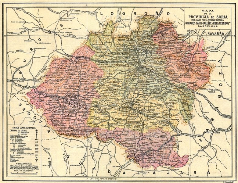 Associate Product SPAIN. Mapa de la Provincia de Soria 1913 old antique vintage plan chart