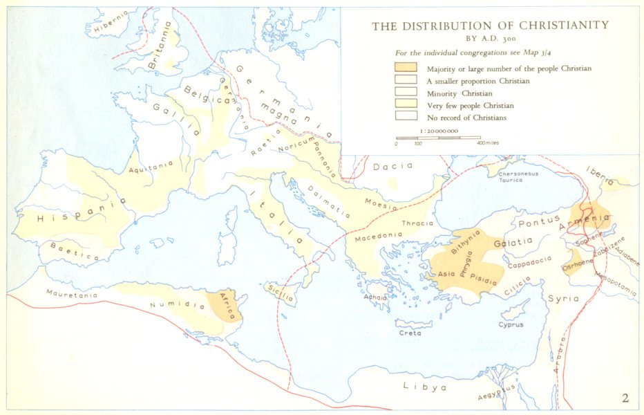 Associate Product CHRISTIANITY.The Distribution of Christianity 1958 old vintage map plan chart