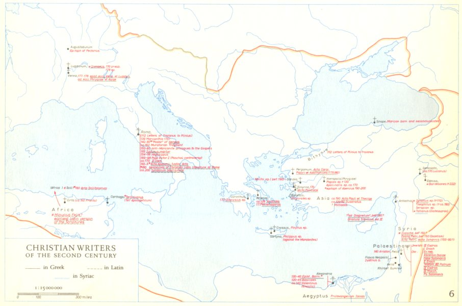 Associate Product CHRISTIANITY.Christian writers of the second century 1958 old vintage map