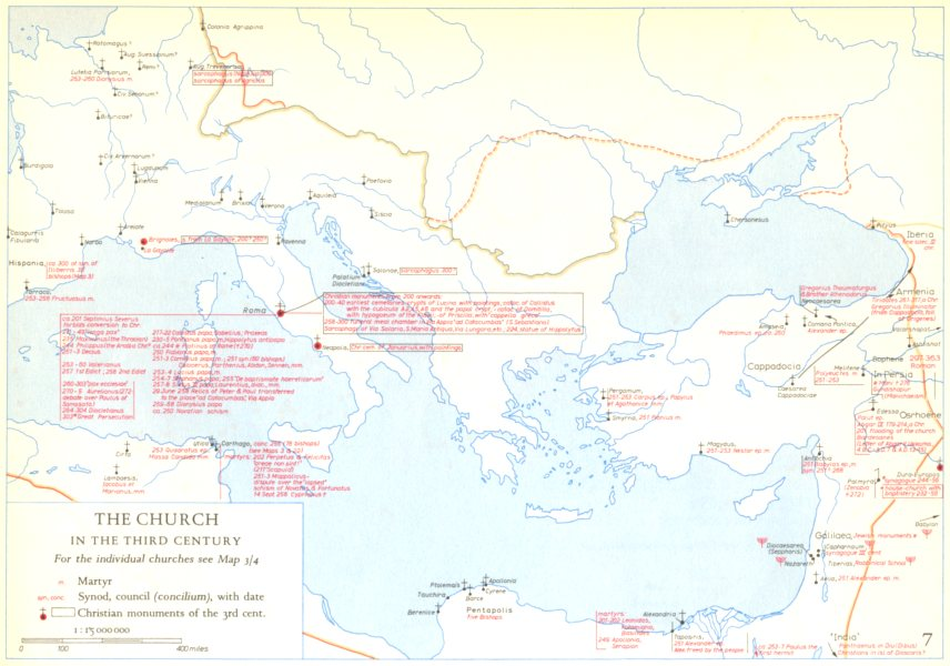 Associate Product CHRISTIANITY.The Church in the third century 1958 old vintage map plan chart