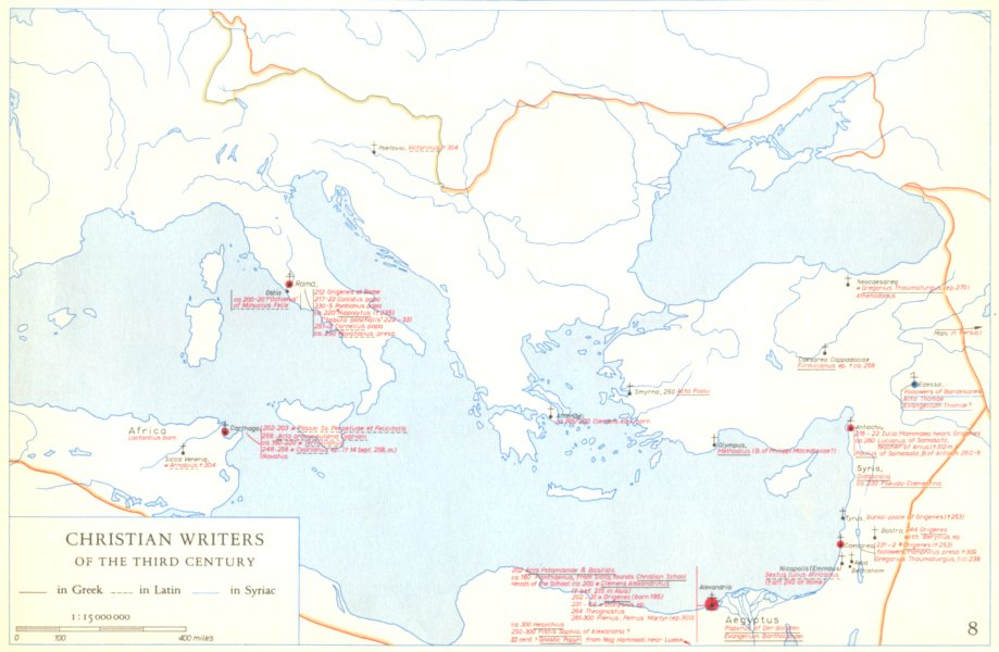 Associate Product CHRISTIANITY.Christian writers of the third century 1958 old vintage map chart