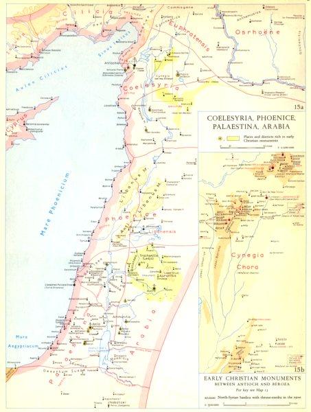 Associate Product CHRISTIANITY.Coelesyria,Phoenice,Palaestina,Arabia;Antioch Beroea 1958 old map